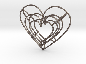 Large Wireframe Heart Pendant in Polished Bronzed-Silver Steel