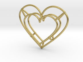 Small Open Heart Pendant in Natural Brass