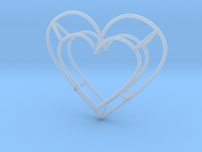 Medium Open Heart Pendant in Smooth Fine Detail Plastic