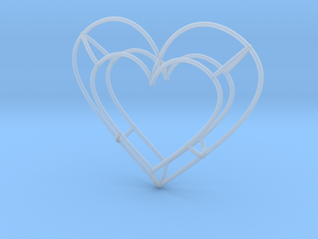 Large Open Heart Pendant in Smooth Fine Detail Plastic