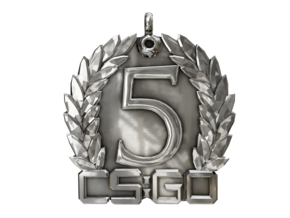 CS:GO 5 Year Medallion in Fine Detail Polished Silver