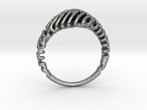 Reaction Diffusion Ring  5 in Natural Silver