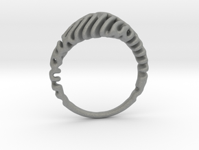 Reaction Diffusion Ring  5 in Gray Professional Plastic