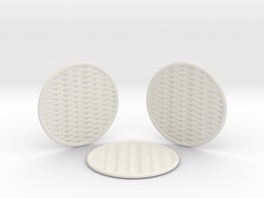 3 Braided Coasters  in White Natural Versatile Plastic