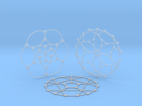 3 Math Graph Coasters in Smooth Fine Detail Plastic