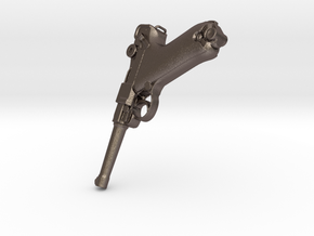 Mauser p08 Luger pistol in Polished Bronzed-Silver Steel