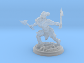 Orc with two Axes on 28mm Base in Smooth Fine Detail Plastic