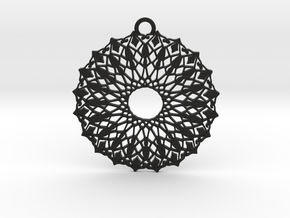Ornamental pendant no.6 in Black Natural Versatile Plastic