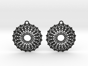 Ornamental earrings no.6 in Black Natural Versatile Plastic