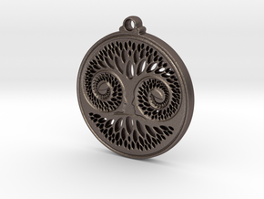Green Man Pendant in Polished Bronzed Silver Steel