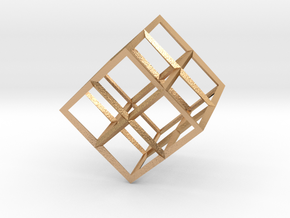 Cube Wireframe in Natural Bronze