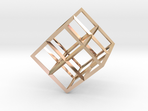 Cube Wireframe in 14k Rose Gold Plated Brass