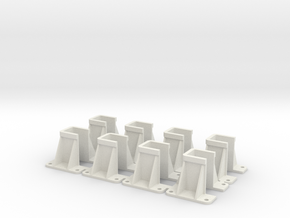 8 Passenger Rolling Stock Bufferbeam Plungers 1.12 in White Natural Versatile Plastic
