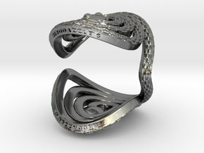 Serpentine Snake Ring: Checkered Pattern in Polished Silver