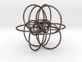 24-cell, stereographic projection, color in Polished Bronzed-Silver Steel