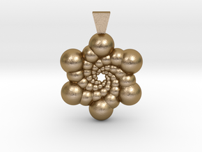 Recursive Spheres Pendant in Polished Gold Steel