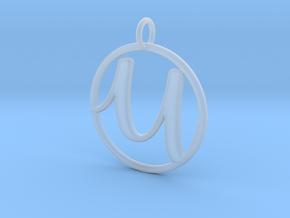 Cursive Initial U Pendant in Smoothest Fine Detail Plastic