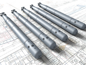 "1/48 Royal Navy 21"" MKVIII Torpedos x5 in Smooth Fine Detail Plastic"