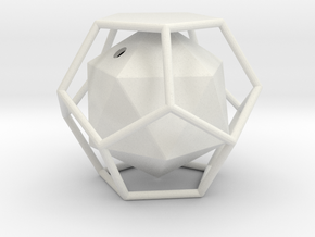 Dual Solids Dodecahedron-Icosahedron in White Natural Versatile Plastic