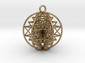 "3D Sri Yantra 6 Sided Symmetrical Pendant 2""  in Polished Gold Steel"