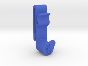 FlatCat Belt Clip for Right-Hand Slingshot Hold in Blue Processed Versatile Plastic