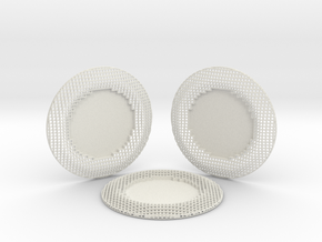 3 Wire Blocks Round Coasters in White Natural Versatile Plastic