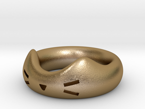 Feline Famished in Polished Gold Steel: Small