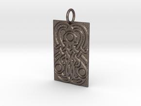 Germanic Style mirror motif keychain in Polished Bronzed-Silver Steel