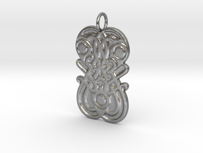 Germanic Style mirror motif pendant in Natural Silver