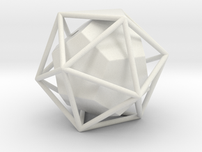 Dual Solids Icosahedron-Dodecahedron in White Natural Versatile Plastic