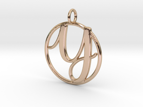 Cursive Initial Y Pendant in 14k Rose Gold