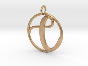 Cursive Initial C Pendant in Natural Bronze