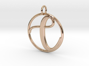 Cursive Initial C Pendant in 14k Rose Gold