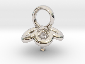 Single Pearl Flower Style Pendant in Platinum