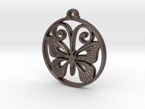 Monarch Butterfly Pendant in Polished Bronzed-Silver Steel