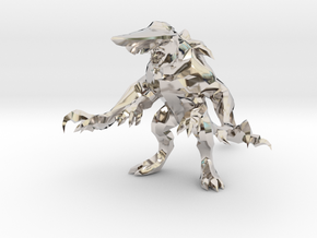 Pacific Rim Knifehead Kaiju Monster Miniature in Rhodium Plated Brass