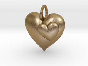 2 Hearts Pendant in Polished Gold Steel