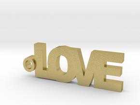 Love Keychain in Natural Brass