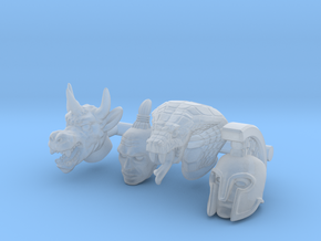 Galaxy Warrior Heads 4-Pack #1 - Multisize in Smooth Fine Detail Plastic: Extra Small