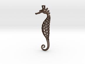 Seahorse Pendant in Polished Bronze Steel: Medium