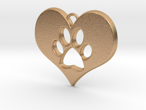 Paw Print Heart in Natural Bronze