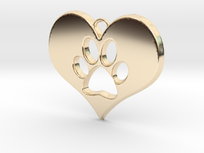 Paw Print Heart in 14k Gold Plated Brass
