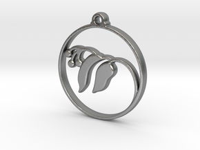 Floral Pendant in Natural Silver