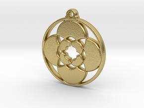 Lotus Pendant III in Natural Brass