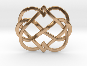 2 Hearts Inifinity Pendant in Polished Bronze