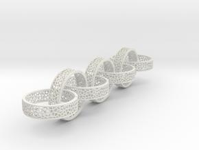 7 4mm voronoi ring in White Natural Versatile Plastic