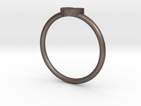 Mini HEART Ring Size 7 V DESIGN LAB in Polished Bronzed-Silver Steel
