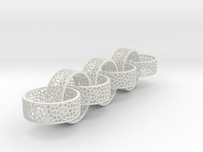 7 8mm rings  voronoi in White Natural Versatile Plastic