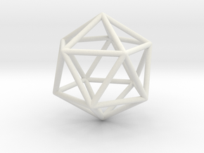 Icosahedron wireframe in White Natural Versatile Plastic: Small