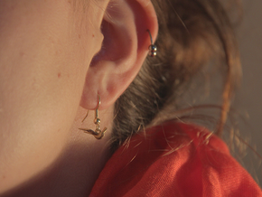 Nautical Swallow Earrings in Raw Brass